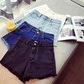 2017 Nova Moda das calças de brim das mulheres de Verão de Cintura Alta Shorts Jeans Stretch Coreano Casual mulheres Shorts Jeans Quentes