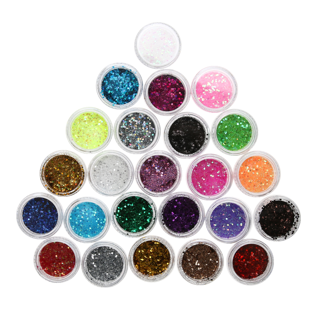 24 Color Nail Glitter Bright Powder Multi-use Nail Art Tools eye shadow lip Makeup DIY Nail Equiement Tip Beauty Cosmetics Decor