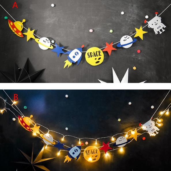 Led Robot Party Personalized Banner Outer Space Birthday