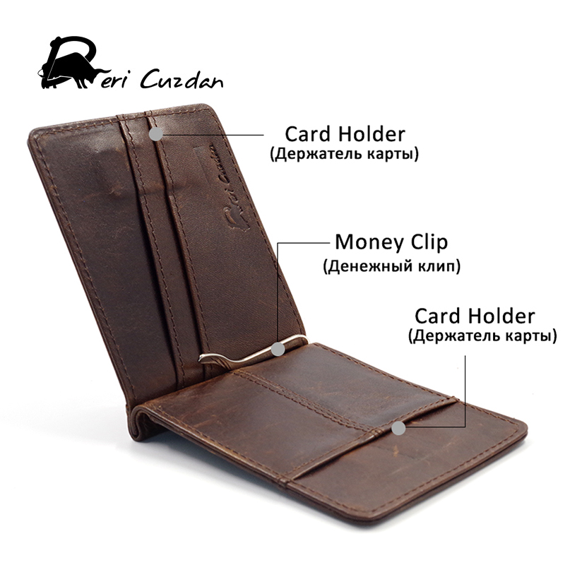 DERI CUZDN Leather font b Money b font font b Clip b font Slim Magnet Wallet