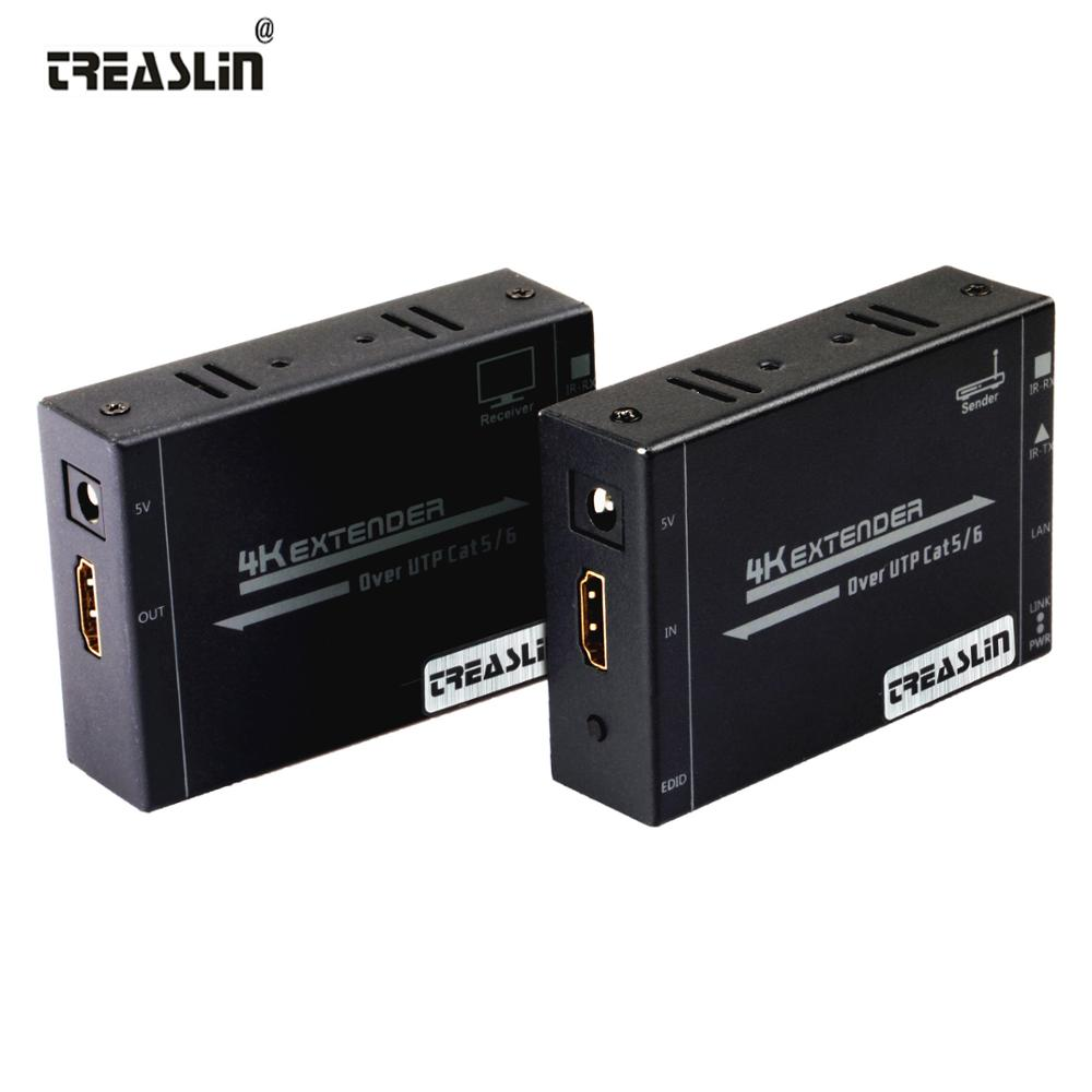 TreasLin 4K HDMI Extender IR Extender over UTP Cat6 Up to 164FT(50M) HDMI Extender with Bi-directional IR for HDTV Projector STB ir infra red extender emitter over hdmi adapter injector extender emitter sac blaster magic eye