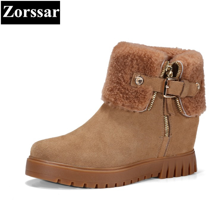 {Zorssar} 2017 NEW arrival winter warm plush Womens snow Boots cow suede platform wedges ankle Boots fashion women shoes heels блендер стационарный philips hr2163 00