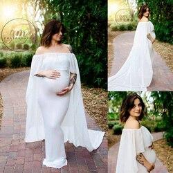 D & J новый белый шифоновый комплект Длинные платье-плащ оборками средства ухода за кожей для будущих мам Опора плащ платье макси белый плащ