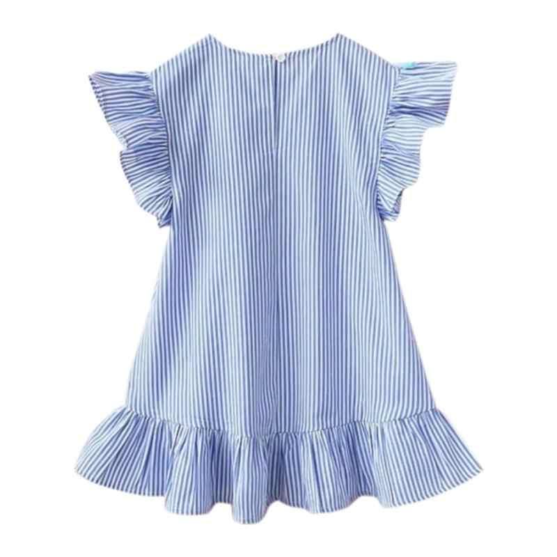 Новинка 2019 года; Летние платья для девочек с кисточками и летящими рукавами; милые детские праздничные платья в полоску; платье принцессы для девочек; топы; одежда