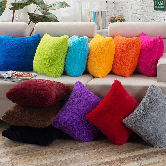 Long Plush 43x43cm/17.7x17.7u0027u0027 Cotton Decorative Chair Sofa Cushion Cover