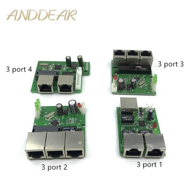 Oem 공장 직접 미니 고속 10/100 mbps 3 포트 이더넷 네트워크 lan 허브 스위치 보드 2 레이어 pcb 2 rj45 1 * 8pin 헤드 포트