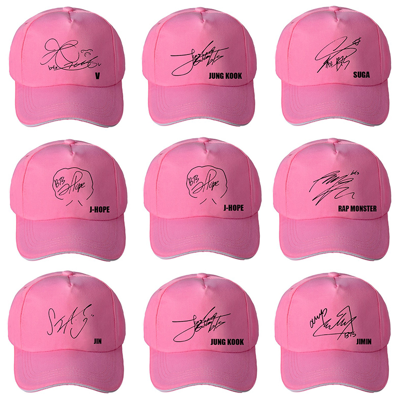 Pink Black Korean Style   Baseball     Cap   Men Kpop Bangtan Boys Fashion Signature Women Hat Unisex Adjustable Hats