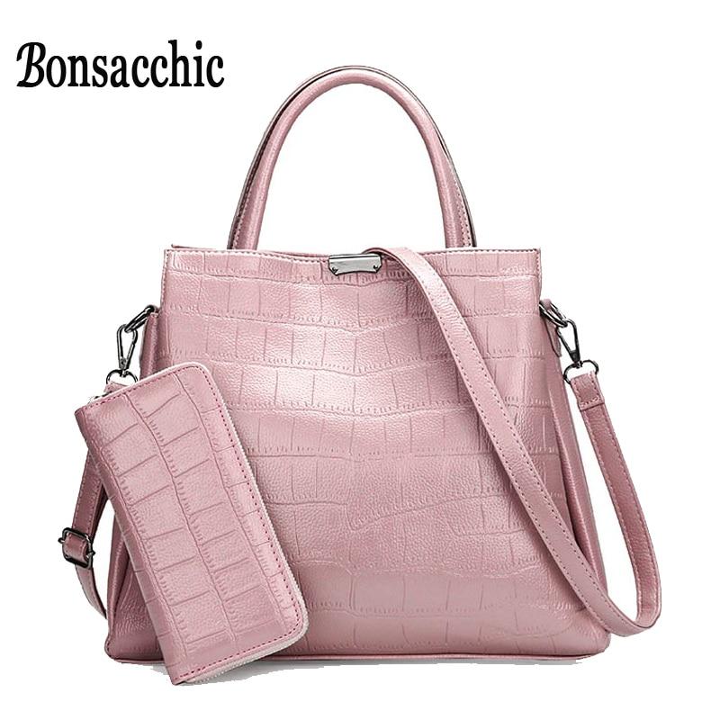2017 New Lady s Bag Set of Women Handbag Sets Bag Pink Purses and Handbags Stone