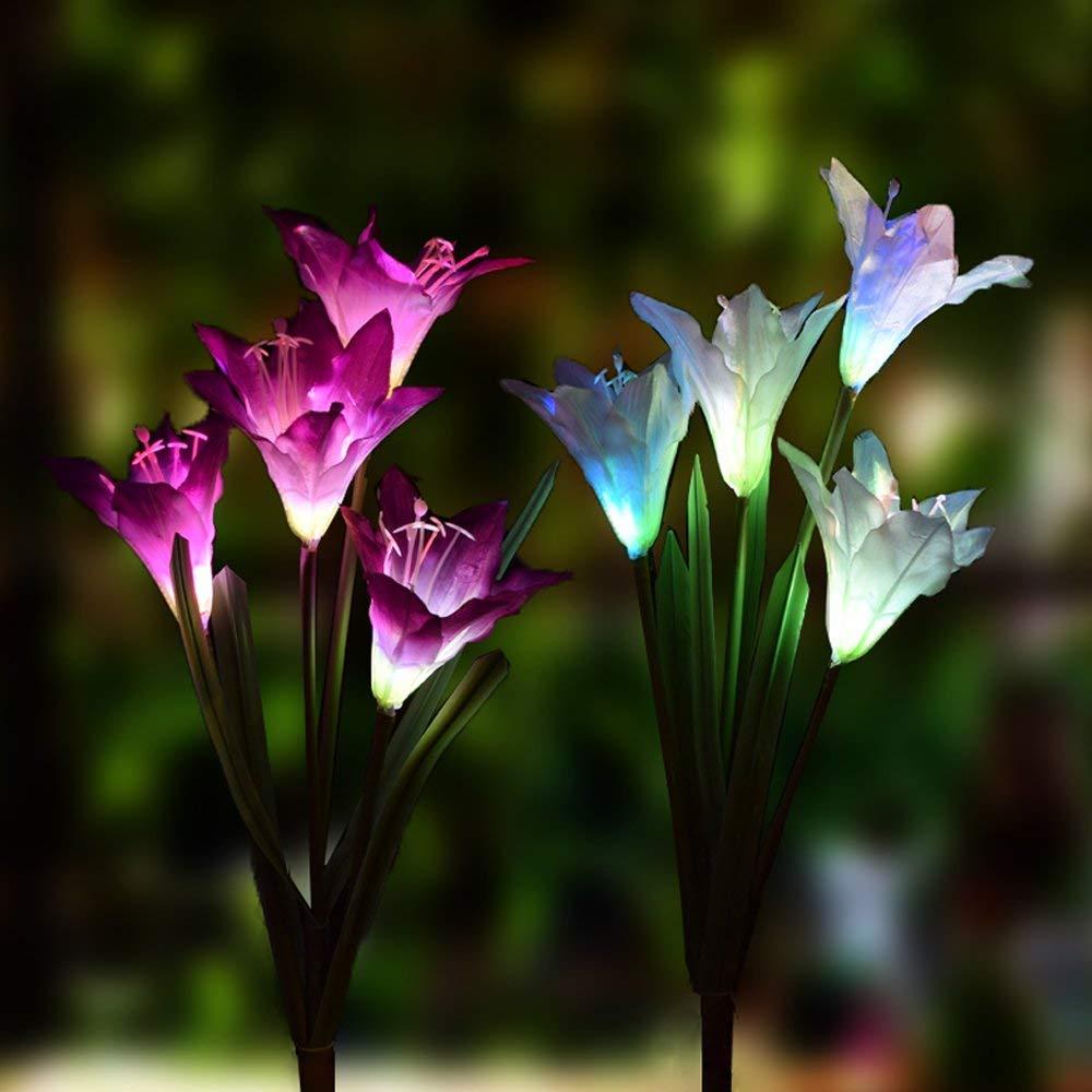 4 x  Lily Flower Outdoor Garden Solar Powered Post Stake Lights Lighting