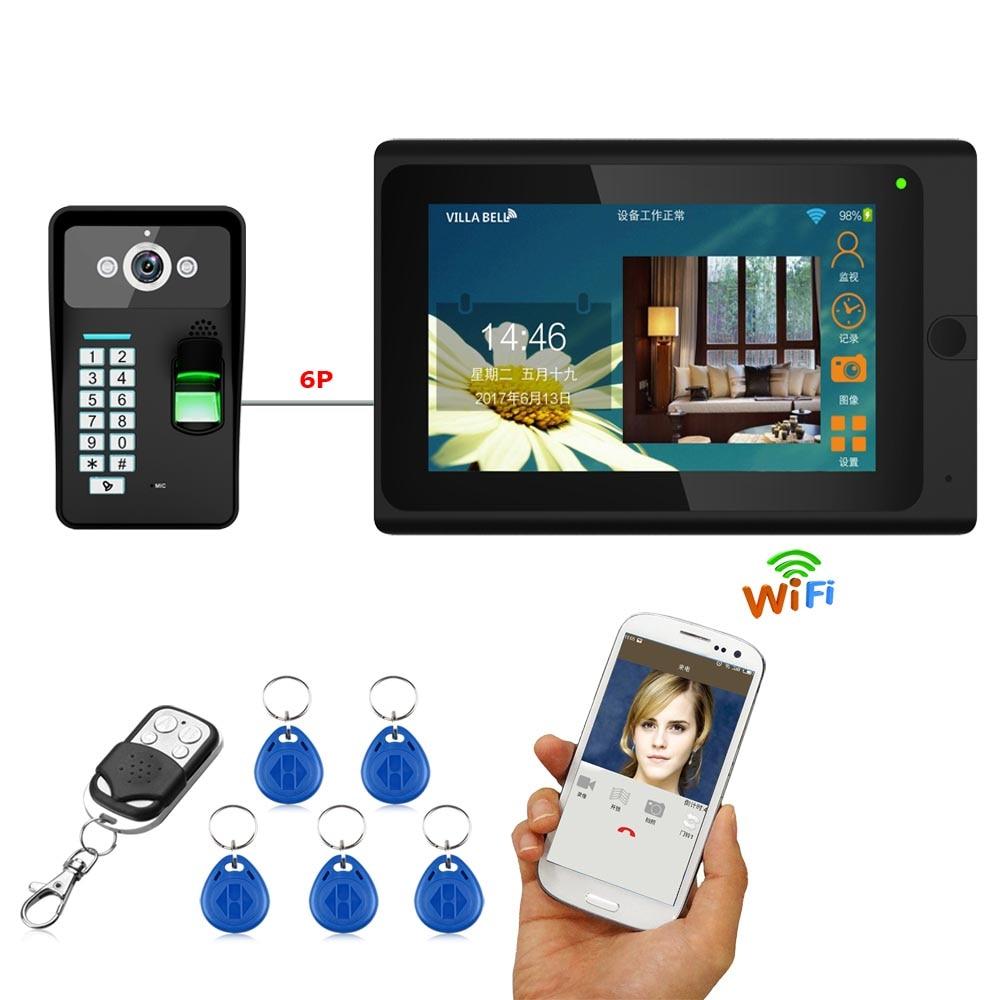 YobangSecurity Wifiワイヤレスビデオドア電話ドアベルビデオインターホン指紋RFIDパスワードカメラ付き7インチモニターKITドアモニター付きワイヤレス