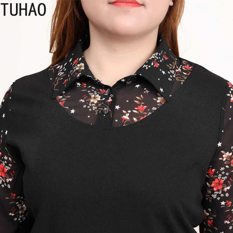 TUHAO bahar çiçek kadın bluz büyük boy 10XL 8XL 6XL kadın gömlek Vintage ofis üstleri baskı bluz artı boyutu MS004