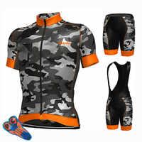 2019 Ropa de Ciclismo Conjunto de camiseta de Ciclismo pantalones cortos transpirables camuflaje verde Verano de secado rápido Ropa de Ciclismo de bicicleta MTB