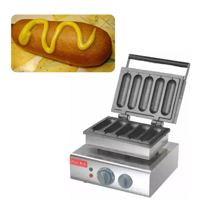 3PC grilled hot dog machine/stainless steel 110V/220V electric 5 grids hot dog machine/hot dog maker/waffle snack maker
