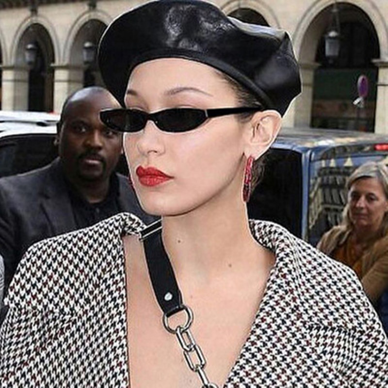 Rectangle Sunglasses Skinny-Eyewear Small-Frame Cat-Eye-Designer Retro Vintage Black
