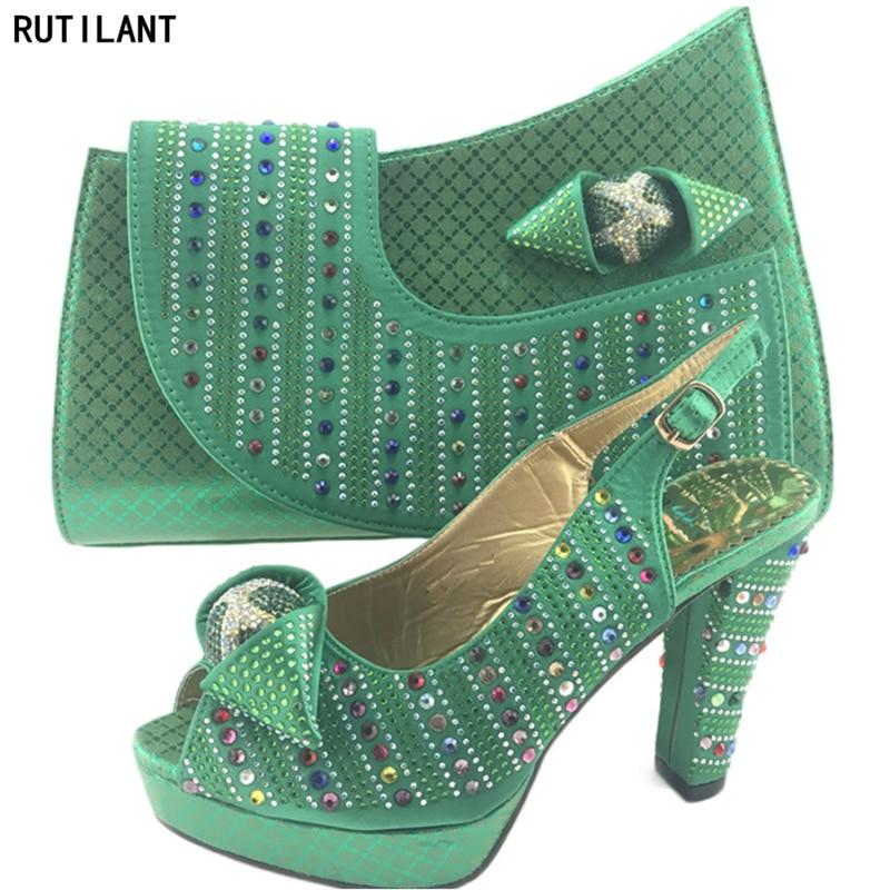 Chaussures Africain Italiennes Parti Avec Sacs Couleur vert Sac Dernières Royal Or Italien bleu rouge Décoré Ensemble Or Et Strass 0qWt8S