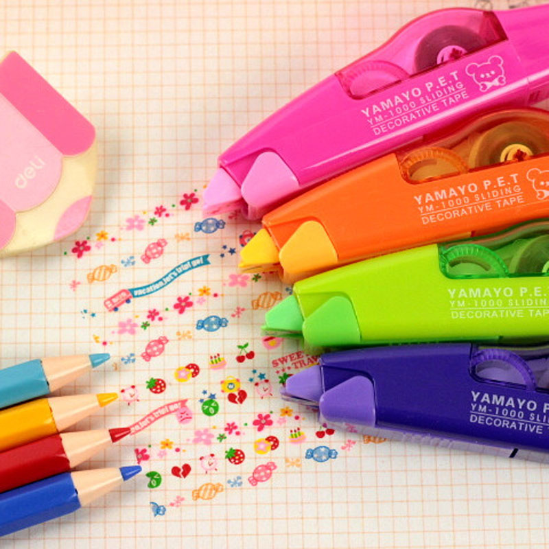Novelty School Stationery Push Decorative Cute Cartoon Lace Corrector Colorful Rainbow Flower Roller Correction Tape 6m*5mm