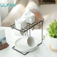 Japan Style Iron Kitchen Hanging Cup Dish Draining Racks Cup Holder Kitchen Utensils Storage for Bookshelf Mug Small Pendant