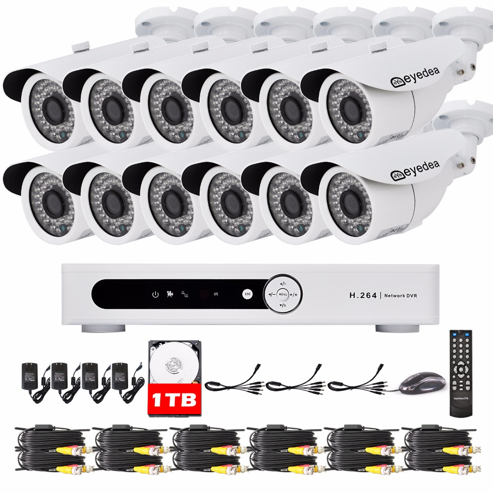 Eyedea 16 CH DVR Recorder 1080P 5500TVL Bullet White Outdoor LED Night Vision CCTV Security Camera Video Surveillance System 1TB eyedea 16ch video dvr recorder hd 1080p bullet black outdoor cmos night vision business cctv security camera surveillance system