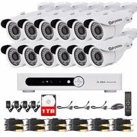 Eyedea 16 CH DVR Enregistreur 1080 P 5500TVL Bullet Blanc En Plein Air LED Night Vision CCTV Caméra de Sécurité Vidéo Surveillance Système 1 TB