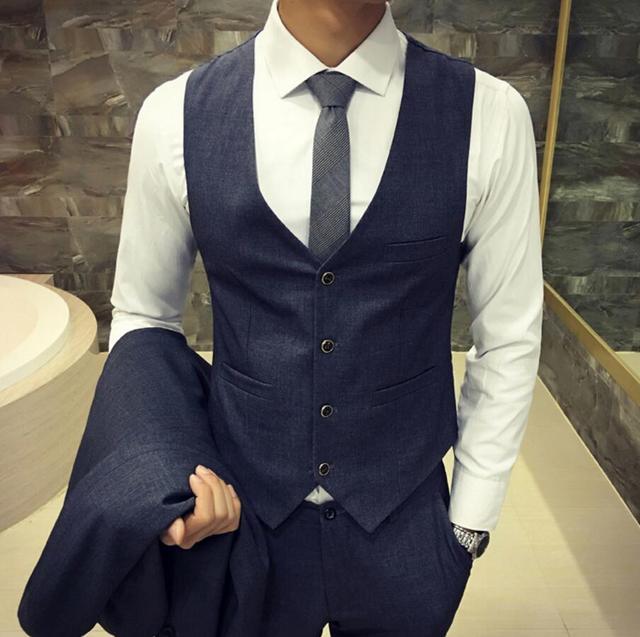 Осень мужчина жилет Британский стиль свадьбы жених шафером костюм жилет деловой случай профессия жилет