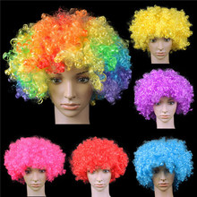 Funny Party Wig Big-haired Curly Hair Disco Rainbow Afro Clown wig Football Fan Adult Child Costume Party Costume HFC08(China)