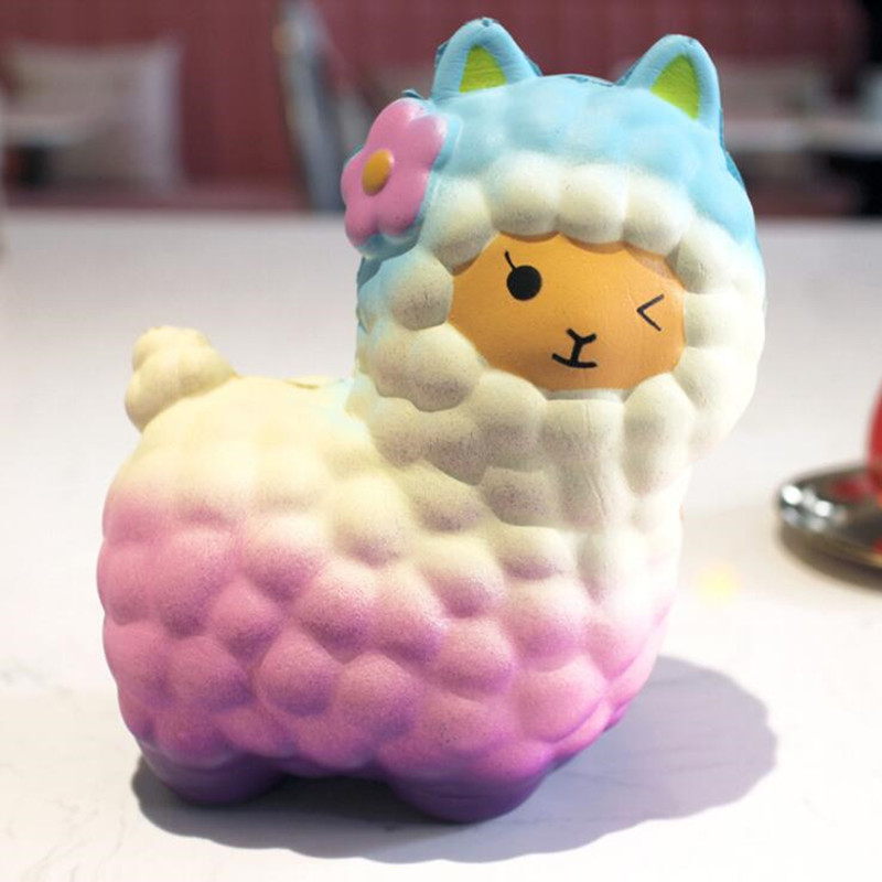 Big size Alpaca Sheep Squishy Slow Rising Bling Rainbow Sheep/Alpaca Soft Cute Animal Squeeze Bread Cake Scented Toys Игрушка