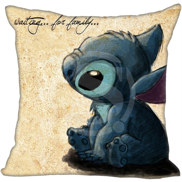 Top Cartoon Lilo & Stitch Kiss Kiss custom Pillowcase  Zippered Pillow Cover 16×16 inch duplex print &