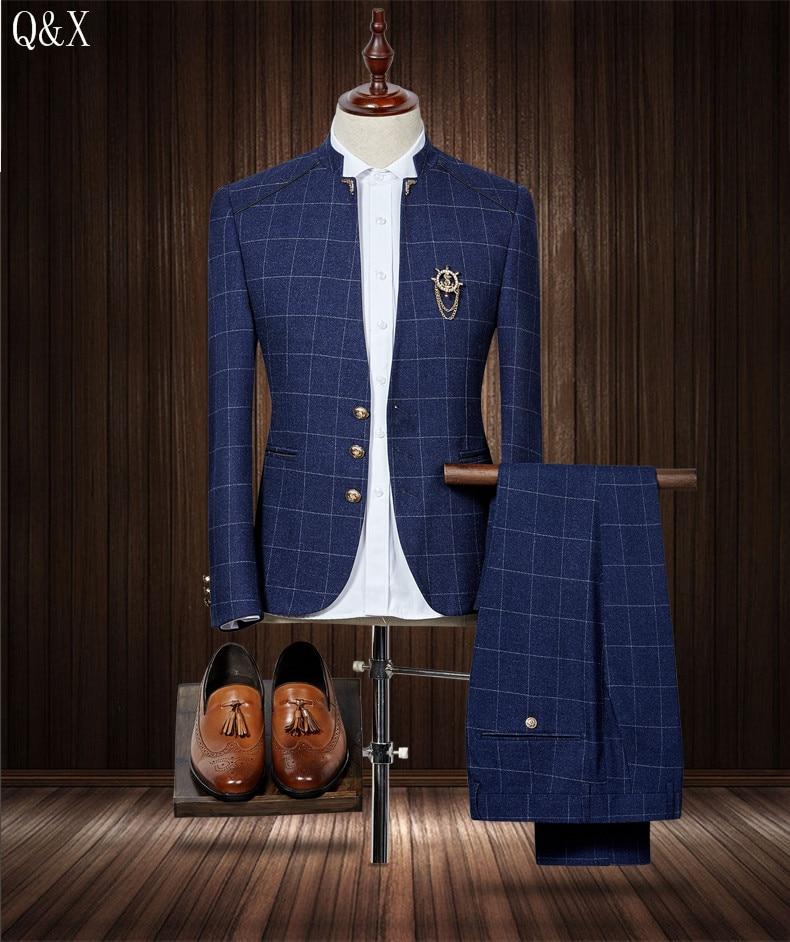 MS50 2019 Standard Collar Classic Navy Blue Men Suit Blazers Retro Gentleman Style  Slim Fit Wedding Suits Black Traje