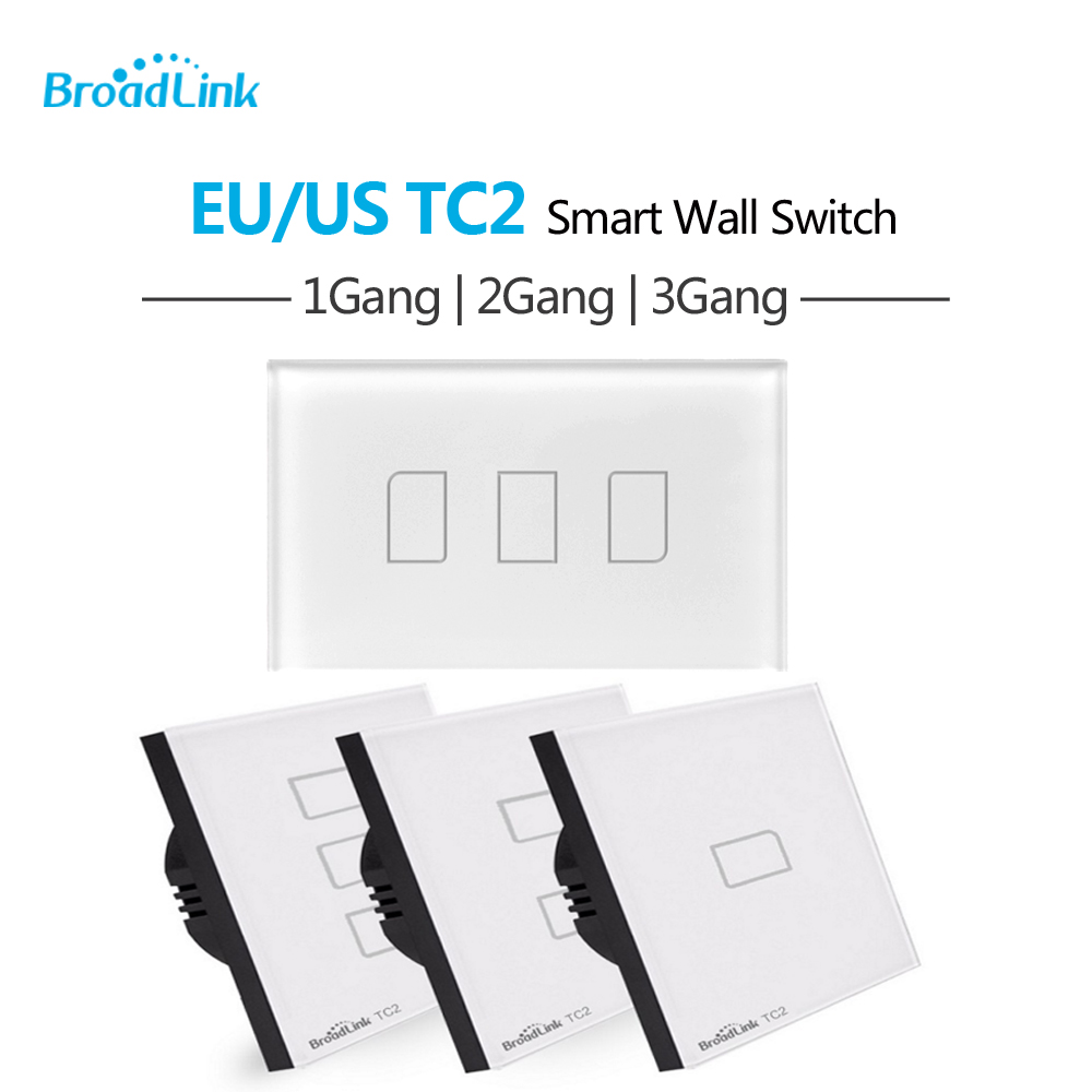 Broadlink TC2 EU US Standard 1 2 3 Gang Way Touch Light Wall Switch Remote Smart Control via Broadlink RM Pro TC 2 Wifi broadlink tc2 1 2 3 gang us au standard touch panel switch smart home automation smart phone wireless remote control by rm pro