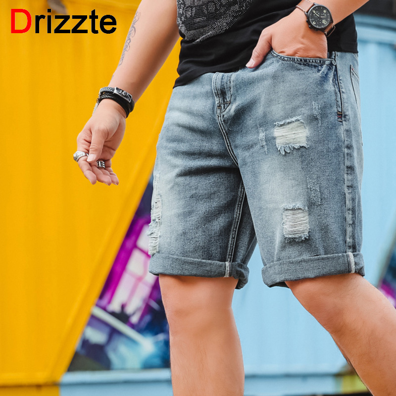 Drizzte Mens 2018 Newest Plus Size 30-46 Big and Tall Mens Ripped Stretch Jeans Shorts Retro Casual Style Distressed Shorts
