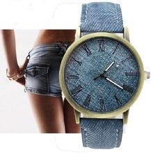 Gnova платины деним Искусственная кожа женские часы Джинсы для женщин в римском стиле модная одежда для девочек платье наручные часы Para Femme Женева Стиль A514