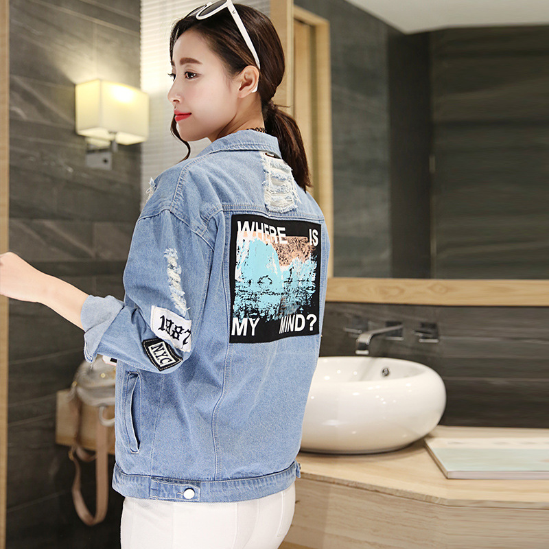 Women Frayed Denim Bomber Jacket Appliques Print Where Is My Mind Lady Vintage Elegant Outwear Autumn Fashion Coat 9