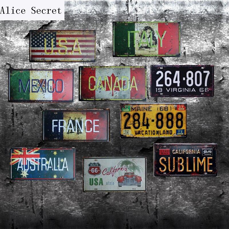 d92830c4f4a06 Casa Decoração Da Parede do Metal Poster Texas EUA MÉXICO Nova Iorque  Garagem Do Vintage Sinais de Estanho Bar Carro Número Da Placa de Metal