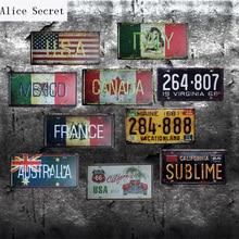 Casa decoración cartel Metal Texas USA Vintage letreros de lata para garaje, México, Nueva York Bar coche número de licencia placa de Metal placas