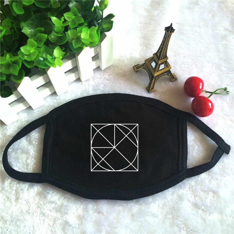 Kpop MONSTA X Beautiful อัลบั้ม World Tour พิมพ์โลโก้ K - pop แฟชั่นหน้ากากใบหน้า Unisex ผ้าฝ้ายสีดำปากหน้ากาก
