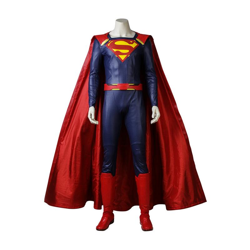 Supergirl Season 2 Costume Superman Clark Kent Cosplay Jumpsuit with Cloak Halloween Party Carnival Outfit Suit Custom Made