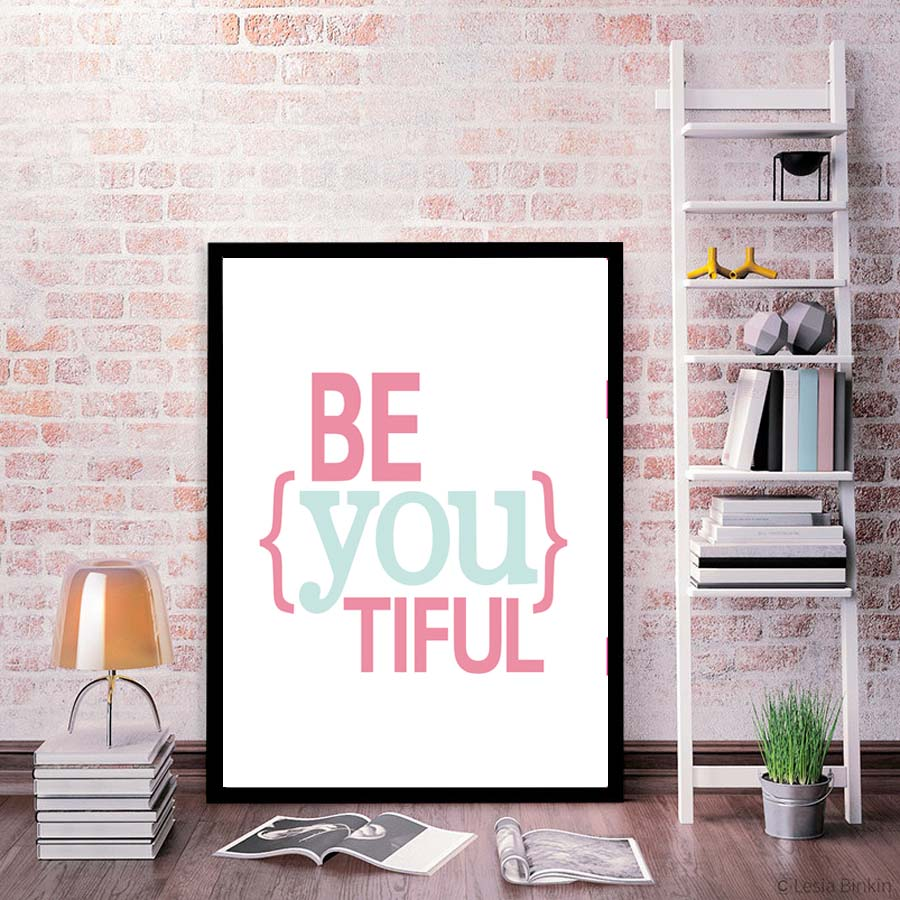 office canvas art. Be You Tiful Inspirational Quote Canvas Art Print Poster Paintings No Frame Office Wall Pictures Home Decor Nordic Decoration-in Painting \u0026 Calligraphy From
