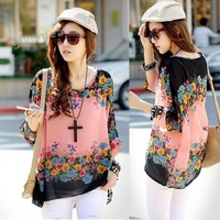 New Plus Size Women Chiffon Blouse Summer Three Quarter Floral Print Blouse Casual Women Tops Blusas