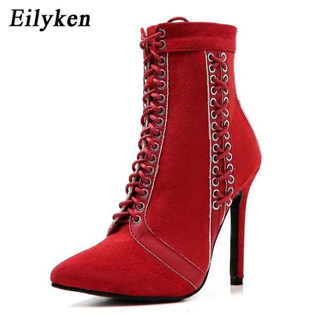 b51332ca6fba Eilyken Rome Ankle Boots For Women High heels Fashion Pointed toe Ladies  Sexy shoes 2018 New Lace-Up Chelsea Boots Size 35-40