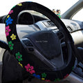 Cubierta del volante del coche lindo de la flor femenina sudor antideslizante que absorbe Cubierta del volante Accesorios Del Coche