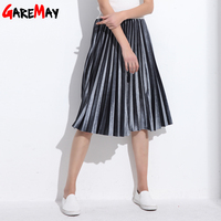 Women Skirt Pleated Faldas Largas Jupe Femme Long Warm High Waist Skirts For Women Elegant Female