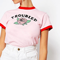 Fashion Summer Troubled Rose Print Pink Crop Top T Shirts Red Side Short Sleeve Korean Style Plus T-shirts