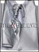 Formal Tailor man's Waistcoat(vest+ascot tie+cufflinks+handkerchief)