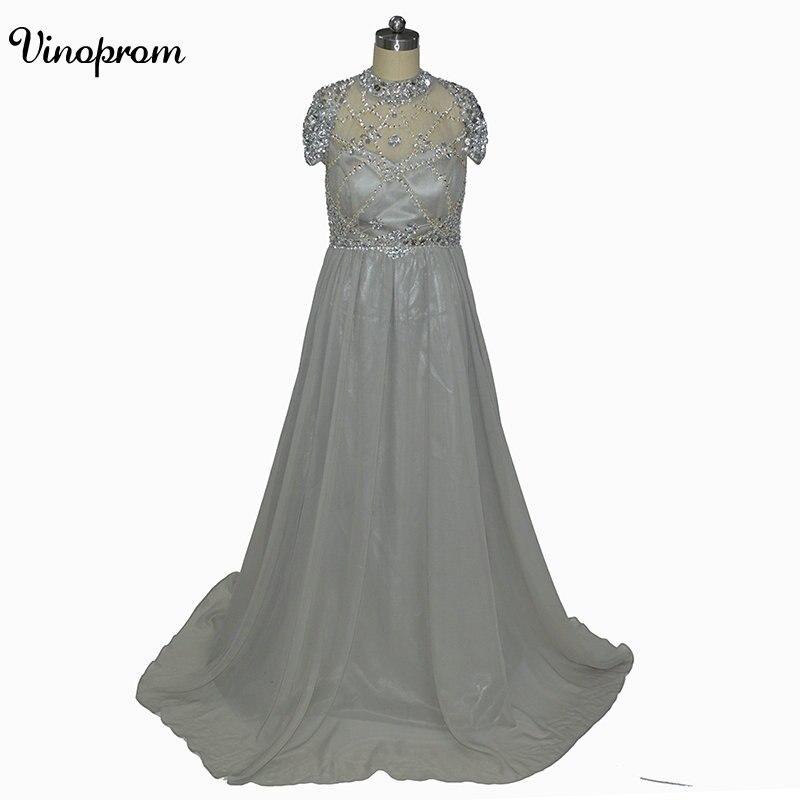 2017 nouveau Sexy col haut robes de soirée manches courtes perlées paillettes en mousseline de soie longues gris robes de soirée transparent dos nu bal de promo