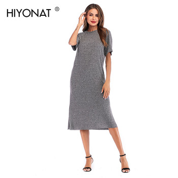 1e84129dfab0 Hiyonat одноцветное серый платье с ребрами жесткости Дамы Прямо летнее  платье с разрезом от бедра женские Slub Повседневное О-образным вырезом ф.