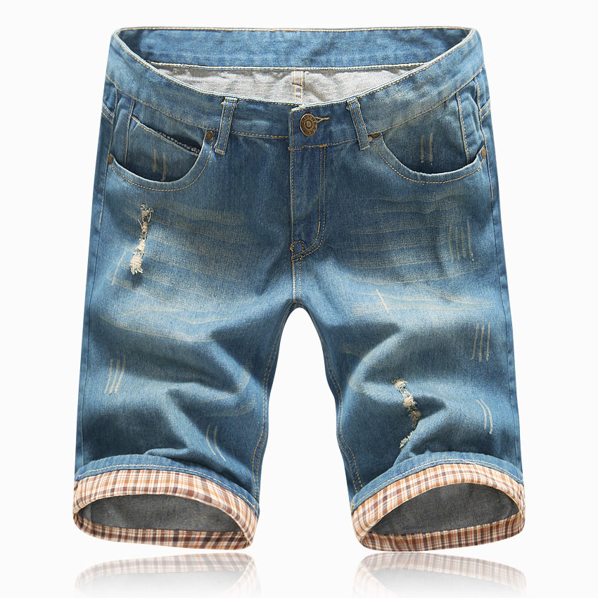 2018 hombres pantalones cortos de verano Pantalones vaqueros rasgados para hombre Pantalones cortos Marca agujero Pantalones cortos de mezclilla Masculina azul claro más el tamaño 40