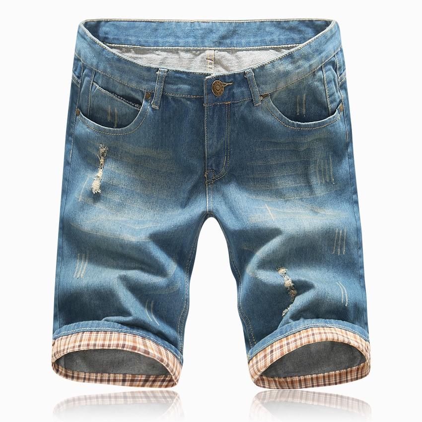 2020 Men Summer Shorts Mens Ripped Jeans Shorts Brand Hole Denim Short Trousers Bermuda Masculina Light Blue Plus Size 40
