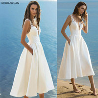 Cheap White Ivory Lace A line Beach Wedding Dresses Bridal Gowns Wedding Reception Dress 2019 with Pockets