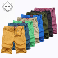 FUHAO New Casual Shorts Men Brand Summer Soft Solid Cotton Mens Trousers 12 Color Option Fashion