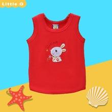 Детские хлопчатобумажные рубашки без рукавов с круглым воротником для мальчиков и девочек; летняя блузка г.; маленький Q; стиль; Детские костюмы с вышивкой